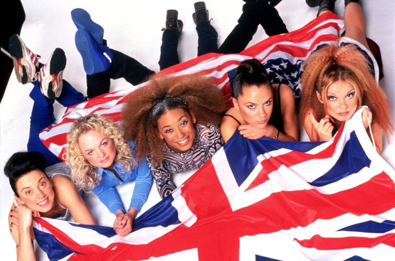 Portrait of the Spice Girls photographed in February 1997 .;  (Photo by Ray Burmiston/Photoshot/Getty Images)